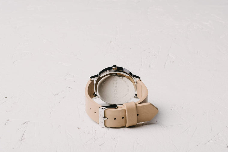 A2 The Horse Original watch in Steel, White and Veg Tan. The Horse. Compendium Design Store. AfterPay, ZipPay accepted.