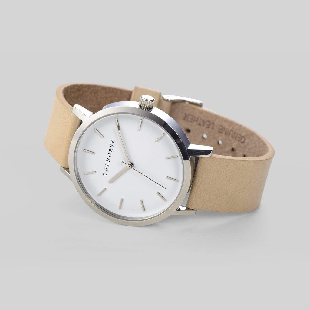 A2 The Horse Original watch in Steel, White and Veg Tan. Compendium Design Store, Fremantle. AfterPay, ZipPay accepted.
