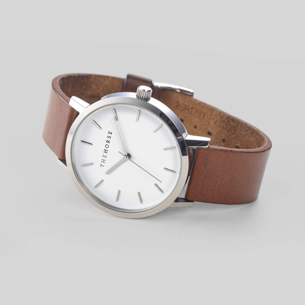 A3 The Horse Original watch in Steel and White with Brown. The Horse. Compendium Design Store. AfterPay, ZipPay accepted.