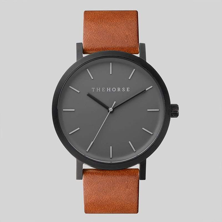 A4 The Horse Original watch in Matte Black (Grey) Tan (Brown). The Horse. Compendium Design Store. AfterPay, ZipPay accepted.