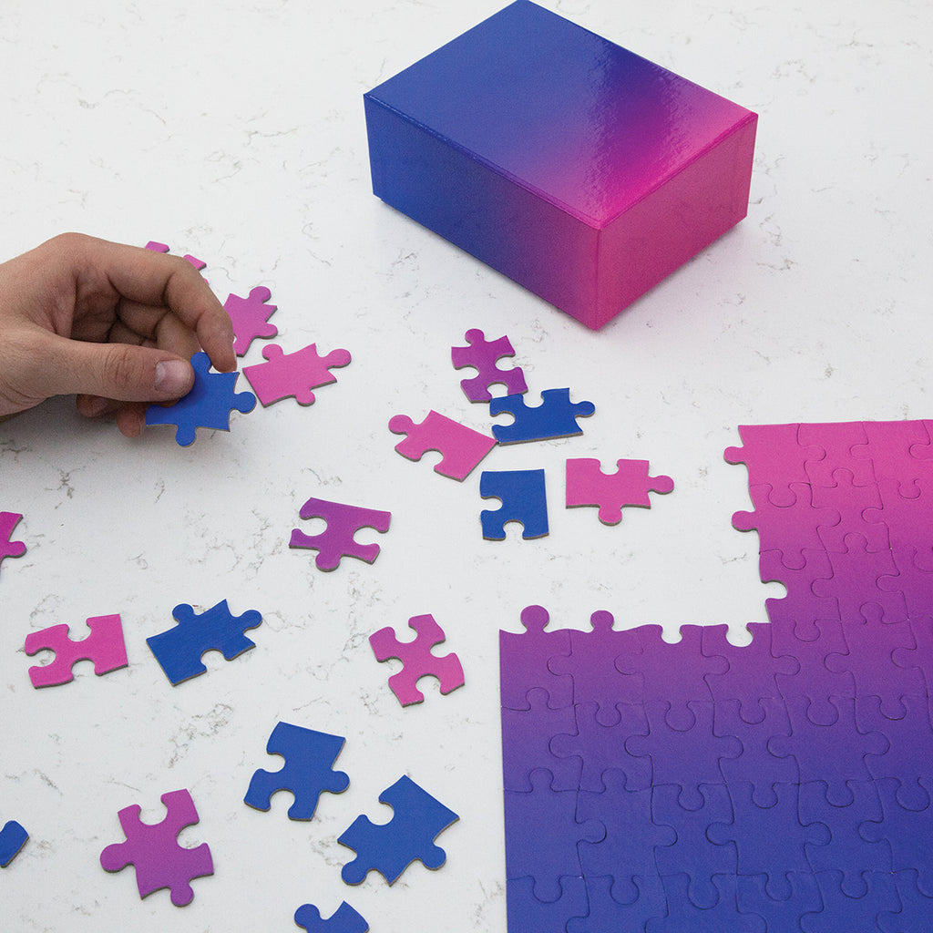 Blue To Pink Gradient 100 Piece Puzzle. Compendium Design Store, Fremantle. AfterPay, ZipPay accepted.