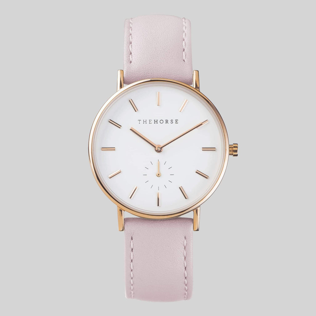 B10 The Horse Classic watch in Rose Gold, White dial with Pink leather. The Horse. Compendium Design Store. AfterPay, ZipPay accepted.