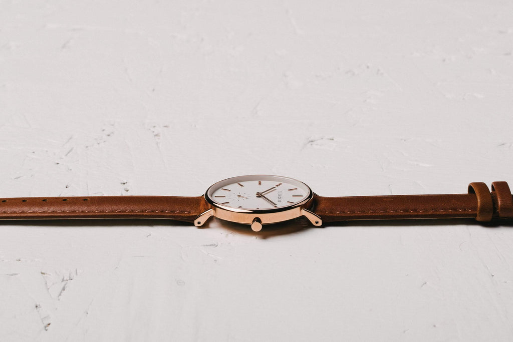 B11 The Horse Classic watch in Polished Rose Gold, White dial with Tan leather. The Horse. Compendium Design Store. AfterPay, ZipPay accepted.