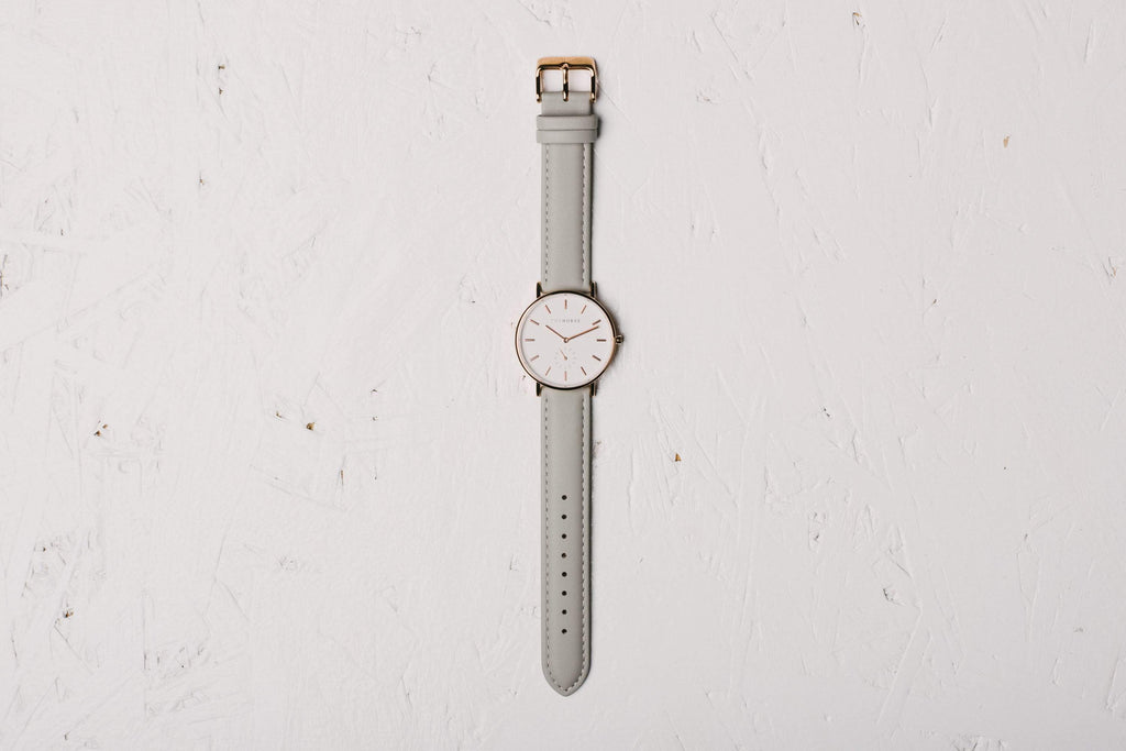 B1 The Horse Classic watch in Rose Gold and White with Grey. The Horse. Compendium Design Store. AfterPay, ZipPay accepted.