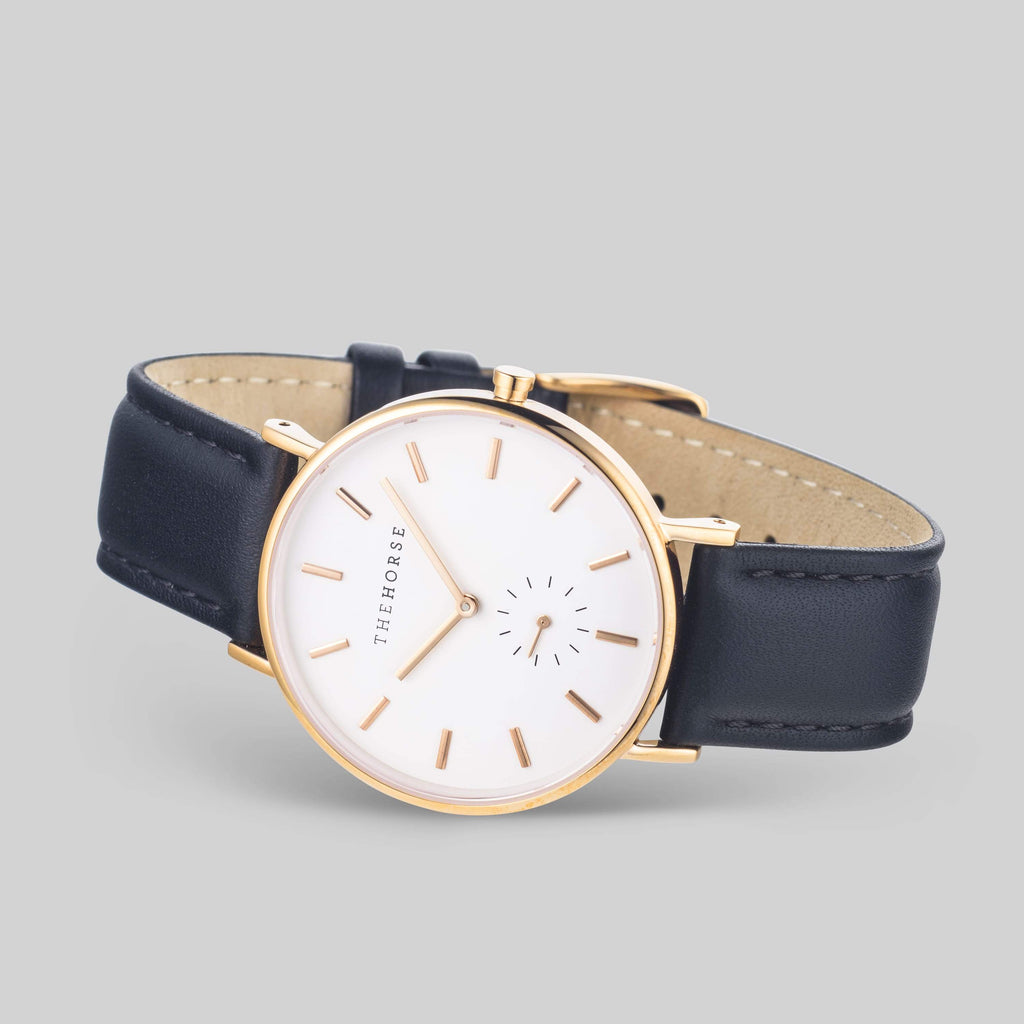 B7 The Horse Classic watch in Polished Rose Gold, White dial with Black leather. The Horse. Compendium Design Store. AfterPay, ZipPay accepted.
