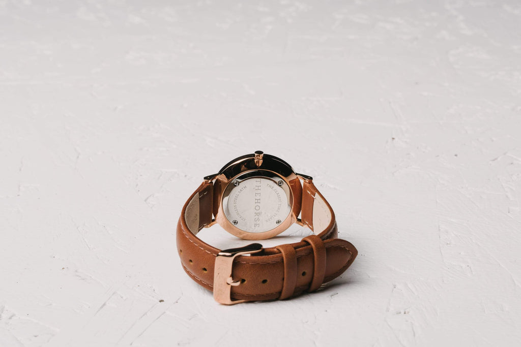 The Horse Classic watch in Polished Rose Gold, Black dial with Tan leather