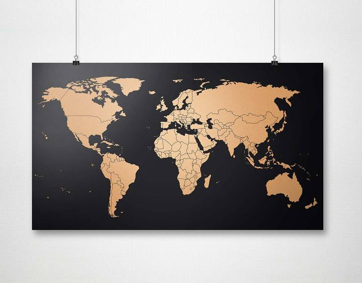 Copper World Map Poster. Compendium Design Store, Fremantle. AfterPay, ZipPay accepted.