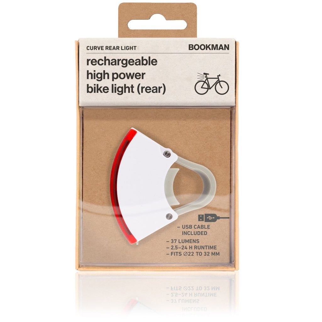 Bookman Curve Rechargeable Rear Bike Light. Compendium Design Store, Fremantle. AfterPay, ZipPay accepted.