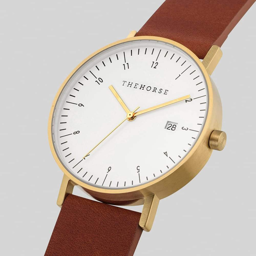 D1 The Horse D Series watch in Brushed Gold and Coffee. The Horse. Compendium Design Store. AfterPay, ZipPay accepted.