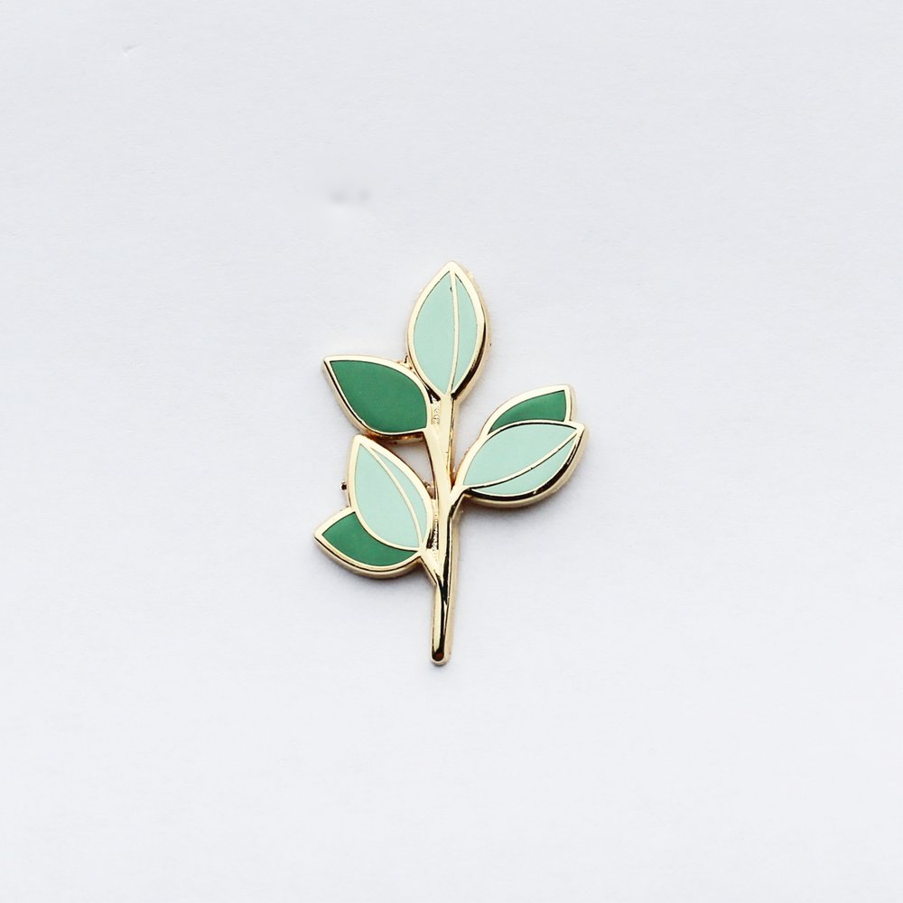 Eucalyptus Branch Pin. Compendium Design Store, Fremantle. AfterPay, ZipPay accepted.