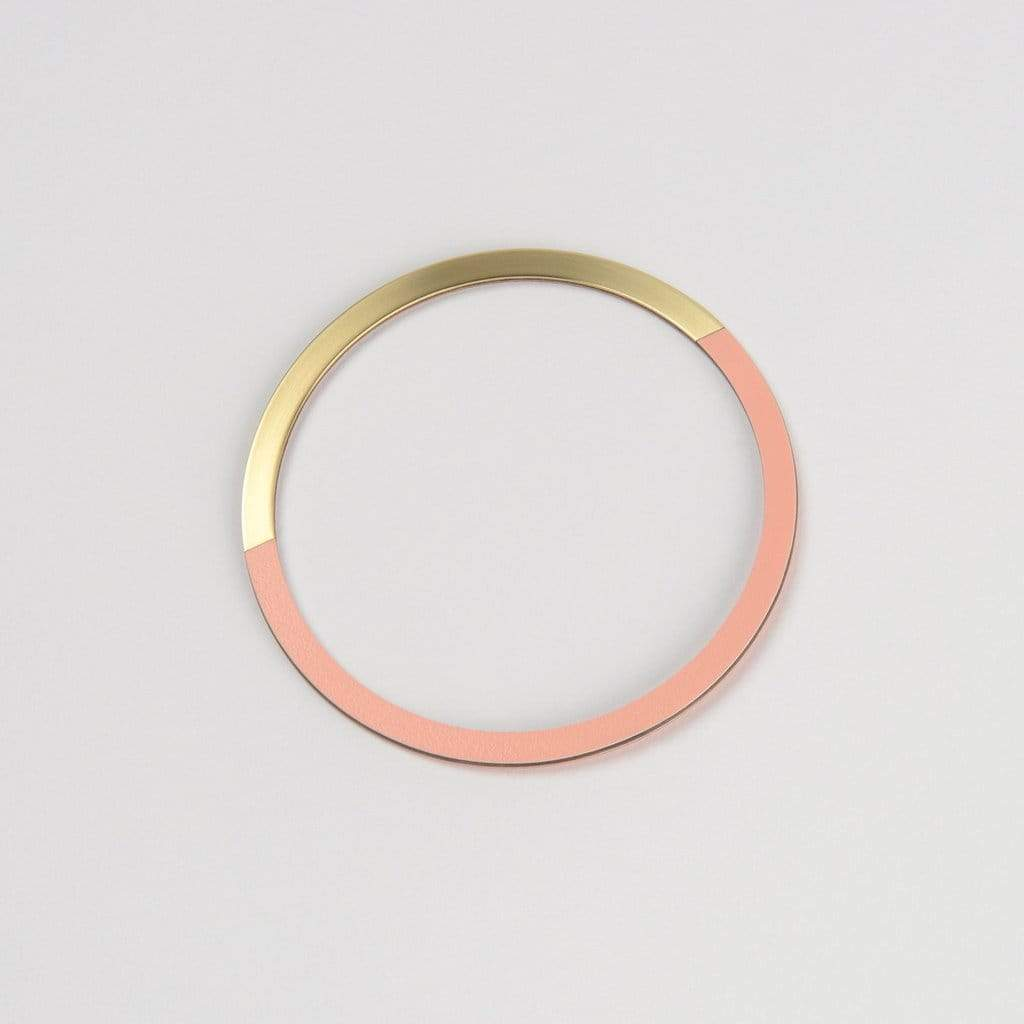 Tom Pigeon Form Series circle bangle in brass & blush. Tom Pigeon. Compendium Design Store. AfterPay, ZipPay accepted.