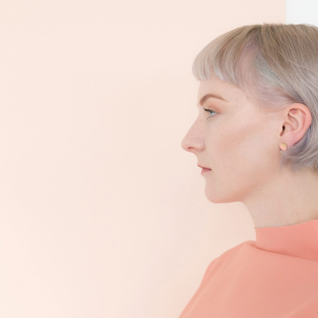 Tom Pigeon Form Series circle earrings in brass & blush. Tom Pigeon. Compendium Design Store. AfterPay, ZipPay accepted.