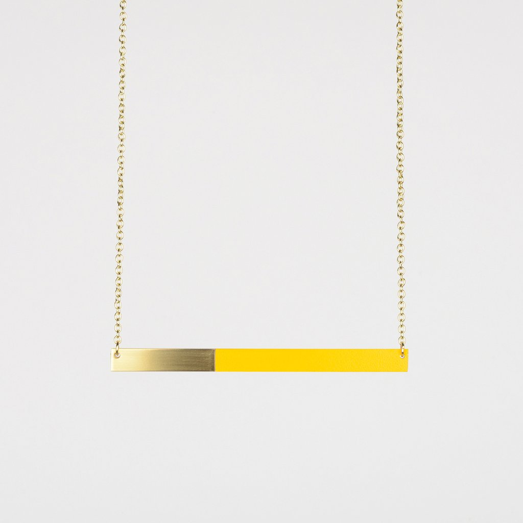 Tom Pigeon Form Series Bar Necklace in Brass & Yellow. Compendium Design Store, Fremantle. AfterPay, ZipPay accepted.