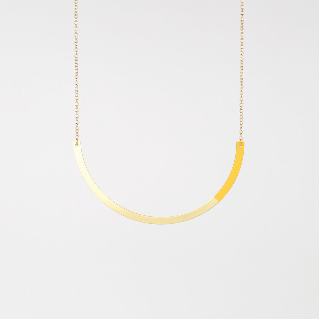 Tom Pigeon Form Series Circle Necklace in Brass & Yellow