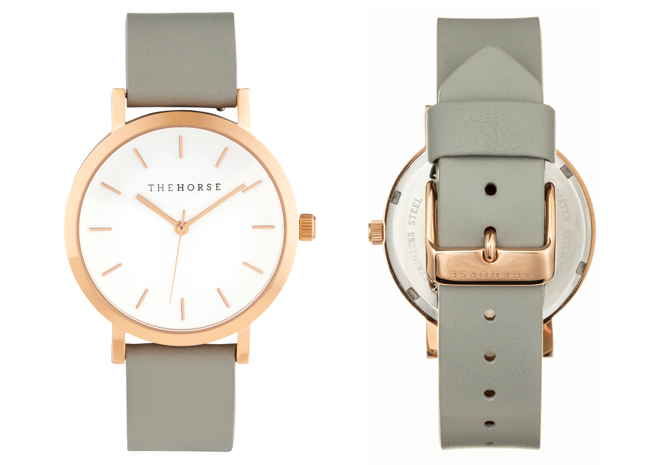 MA23 The Horse Mini Original Watch with Rose Gold Case, White Dial & Grey Strap. Compendium Design Store, Fremantle. AfterPay, ZipPay accepted.
