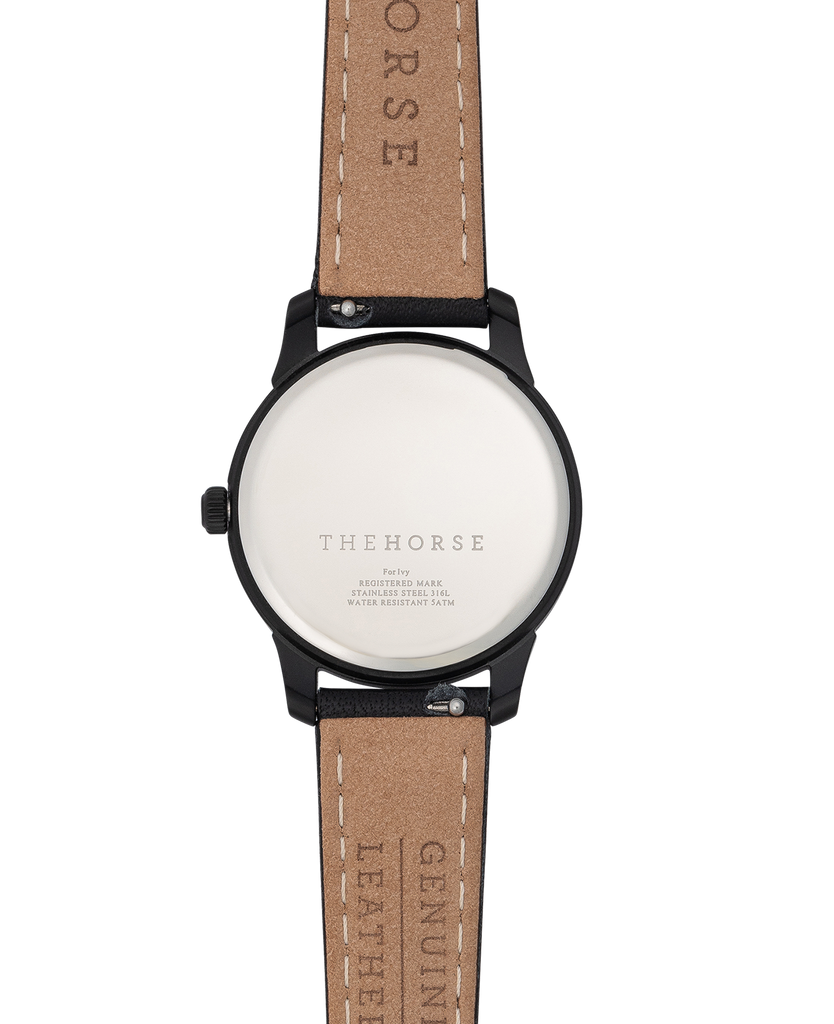 IG3 The Horse Ivy Girl Ladies Watch with Date Sandblasted Matte Black Case / Black Dial/ Rose Gold Indexes. Compendium Design Store, Fremantle. AfterPay, ZipPay accepted.