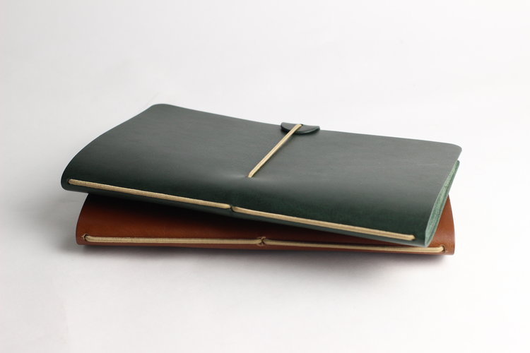 Isaac Francis Leather Notebook Cover in Olive. Compendium Design Store, Fremantle. AfterPay, ZipPay accepted.