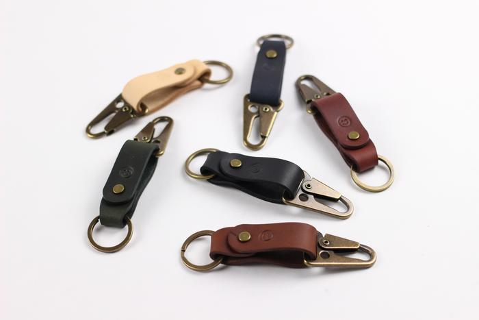 Isaac Francis Leather Key Fob Clip. Compendium Design Store, Fremantle. AfterPay, ZipPay accepted.