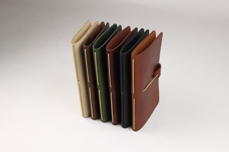 Isaac Francis Leather Notebook Cover in Olive