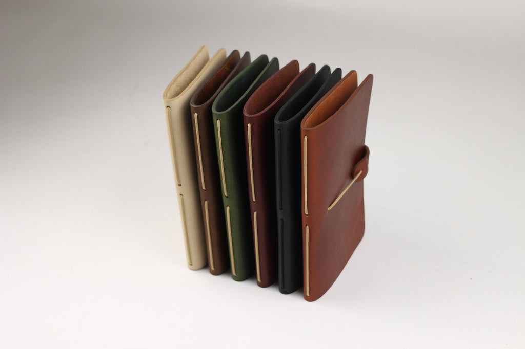 Isaac Francis Leather Notebook Cover in Black. Compendium Design Store, Fremantle. AfterPay, ZipPay accepted.
