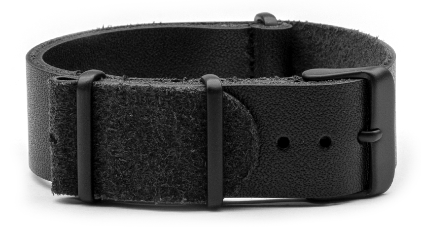 Leather Nato Watch Strap in Black with Black PVD Hardware. Compendium Design Store, Fremantle. AfterPay, ZipPay accepted.