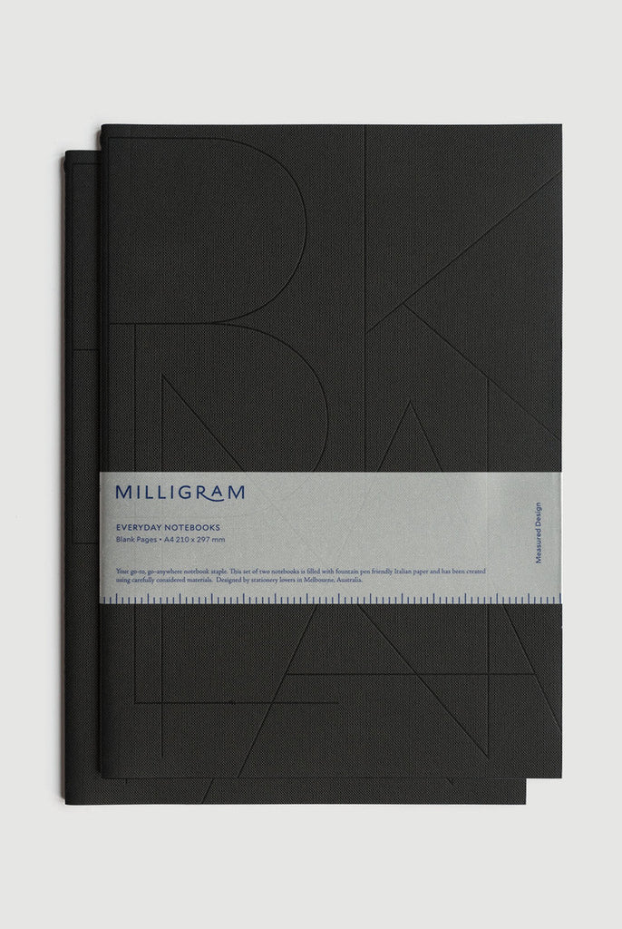Basic A4 Notebook Set of 2 - Black. Milligram. Compendium Design Store. AfterPay, ZipPay accepted.