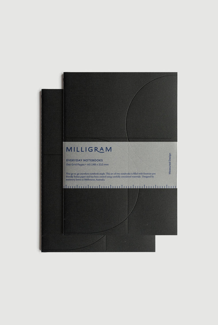 Basic A5 Notebook Set of 2 - Black. Milligram. Compendium Design Store. AfterPay, ZipPay accepted.