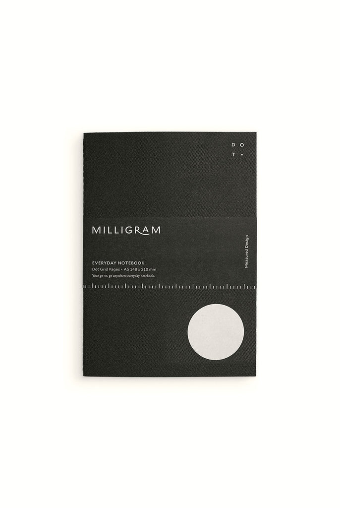 Milligram Everyday Notebook A5 Black. Compendium Design Store, Fremantle. AfterPay, ZipPay accepted.