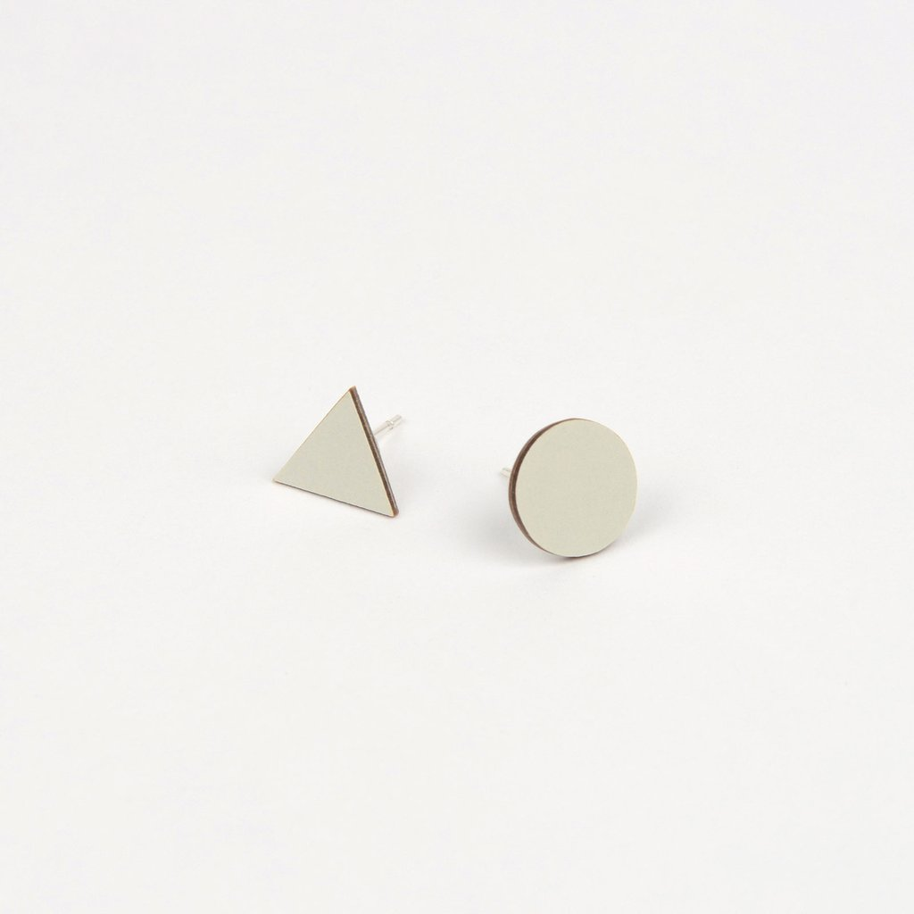 Tom Pigeon Form Series Mix Match Earrings in Grey. Compendium Design Store, Fremantle. AfterPay, ZipPay accepted.