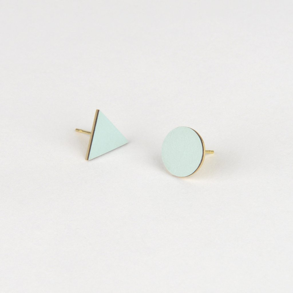 Tom Pigeon Form Series Mix Match Earrings in Ice Blue. Compendium Design Store, Fremantle. AfterPay, ZipPay accepted.