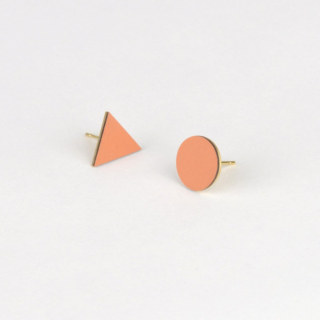 Tom Pigeon Form Series Mix Match Earrings in Tan. Compendium Design Store, Fremantle. AfterPay, ZipPay accepted.