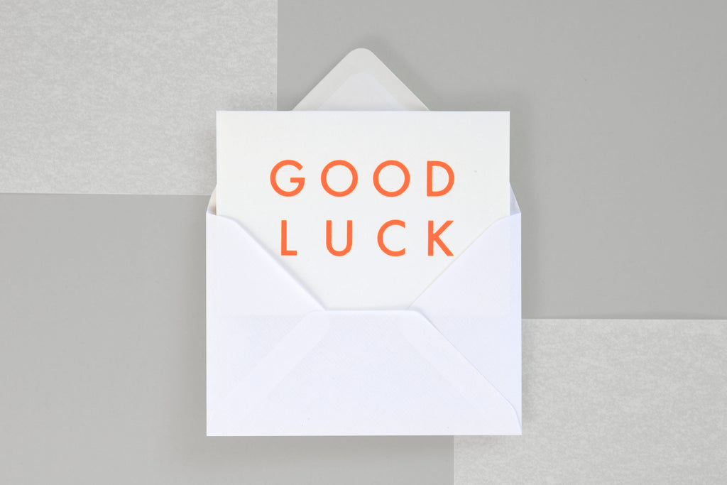 Foil Blocked Card, Good Luck Print in Neon Orange/ White. Compendium Design Store, Fremantle. AfterPay, ZipPay accepted.