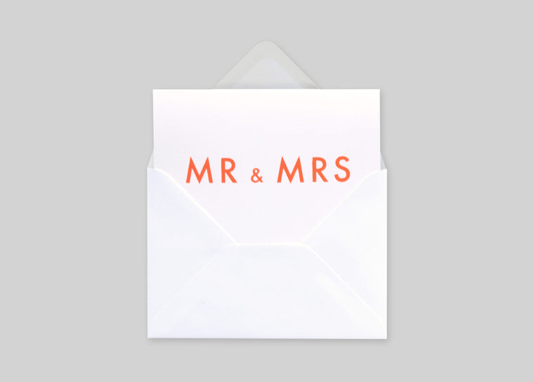 Foil Blocked Card, Mr & Mrs Print in Neon Orange/ White