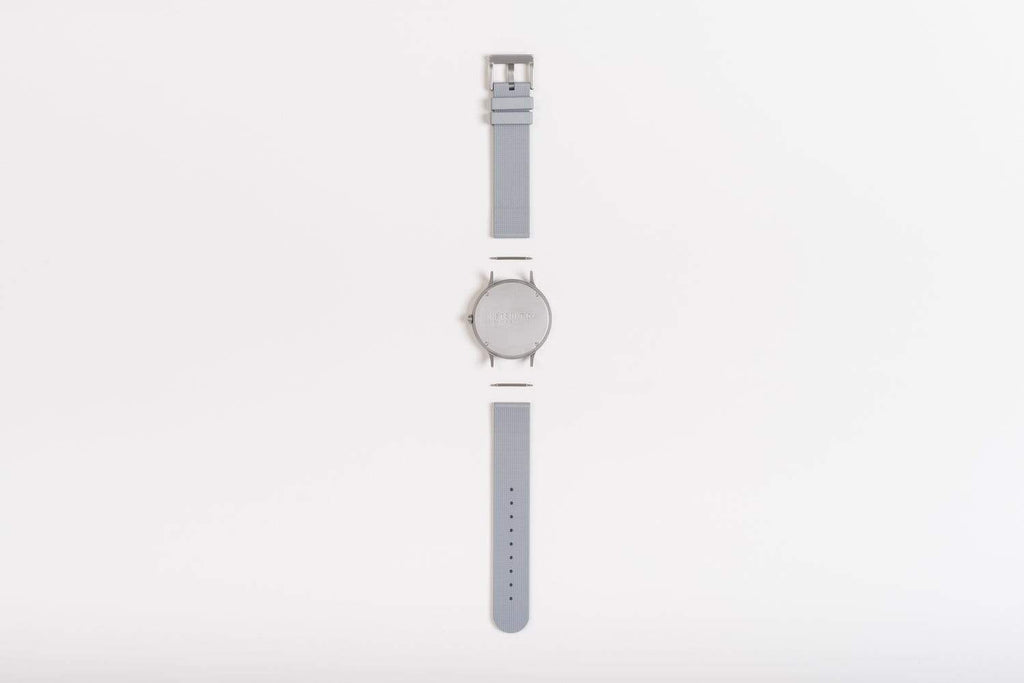 Instrmnt K-Series Unisex watch K-31, Silver & Light Grey rubber. Compendium Design Store, Fremantle. AfterPay, ZipPay accepted.