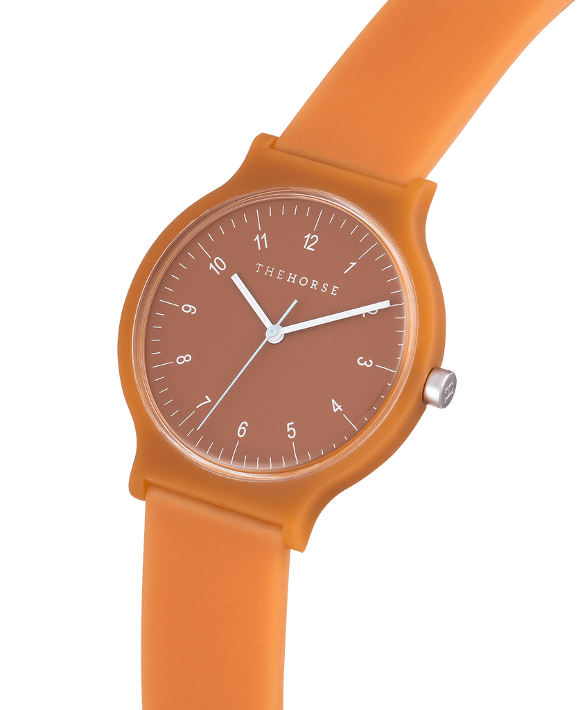 SA11 The Horse Blockout Unisex Watch in Rusty Terracotta. Compendium Design Store, Fremantle. AfterPay, ZipPay accepted.