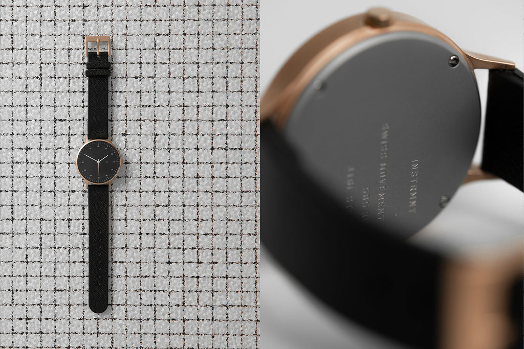 Instrmnt T-42 Watch in Brushed Rose Gold and Black Textured Leather Strap. Compendium Design Store, Fremantle. AfterPay, ZipPay accepted.