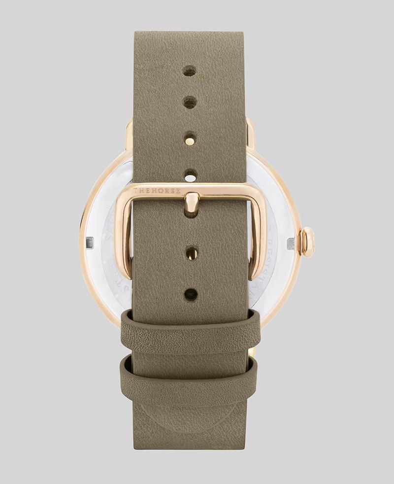 The Heritage by The Horse in Polished Rose Gold, Taupe Dial, Taupe Band (H4). The Horse. Compendium Design Store. AfterPay, ZipPay accepted.