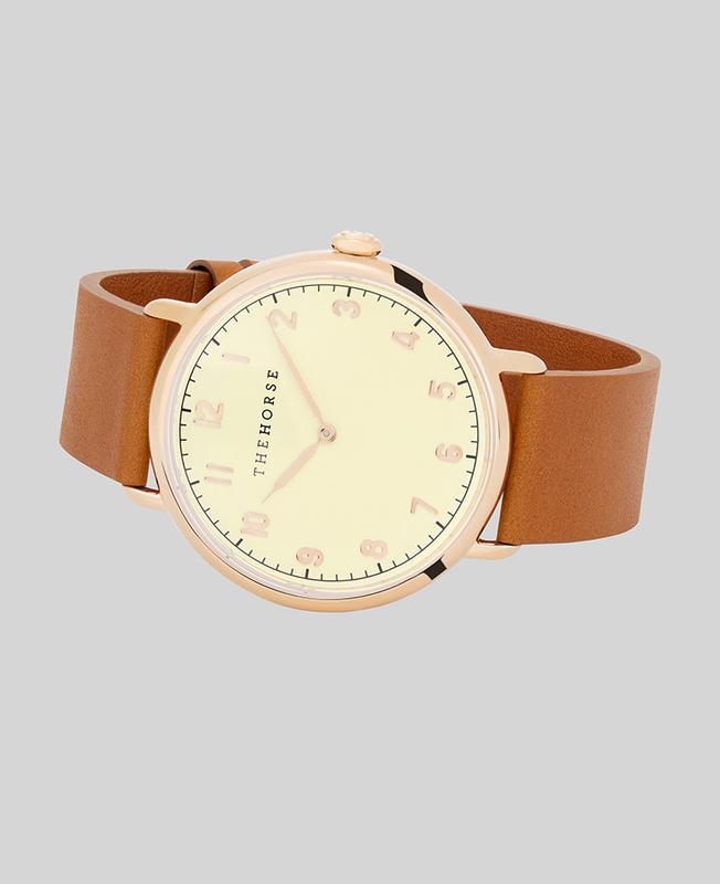 The Heritage by The Horse in Polished Rose Gold, Off White, Tan Band (H3). The Horse. Compendium Design Store. AfterPay, ZipPay accepted.