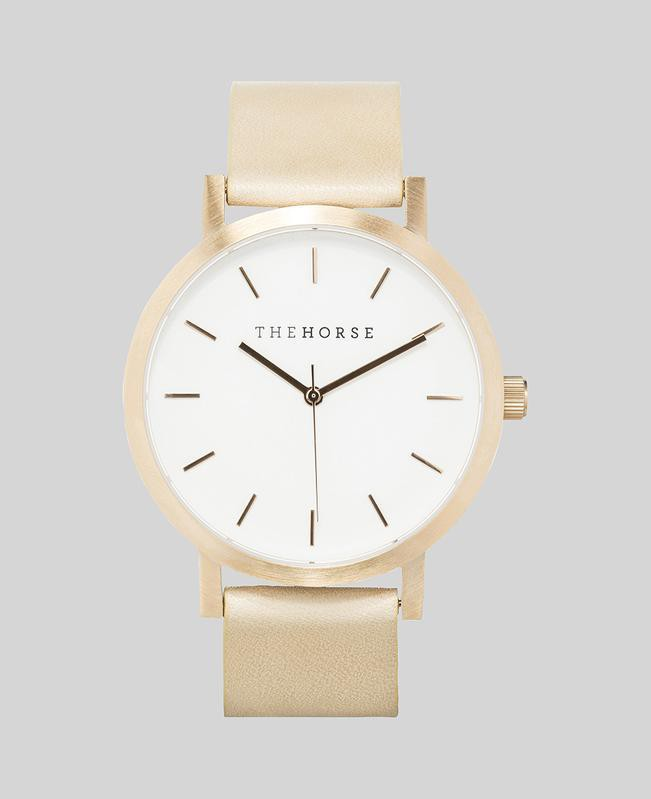 A24 The Horse Original watch in Brushed Rose Gold, White and Veg tanned leather band. The Horse. Compendium Design Store. AfterPay, ZipPay accepted.