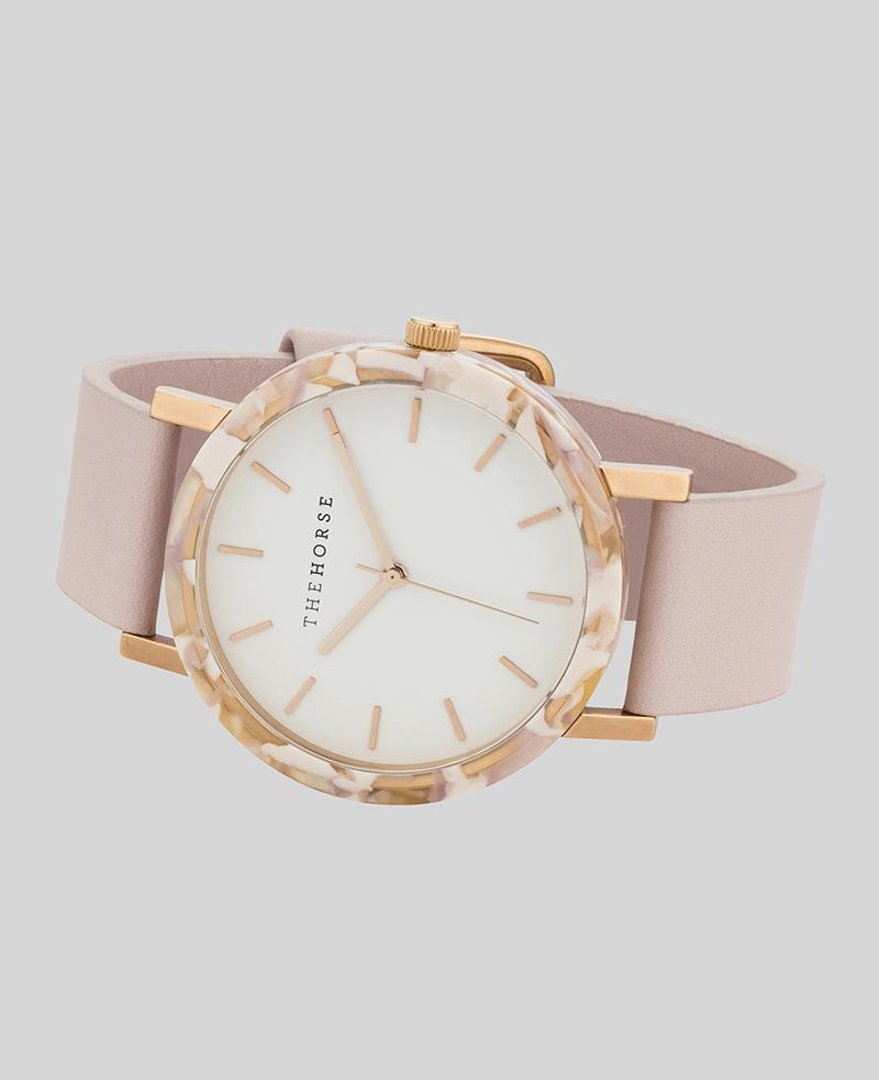 E5 The Horse 'Resin' watch in Nougat Case, White Dial and Baby Pink Band