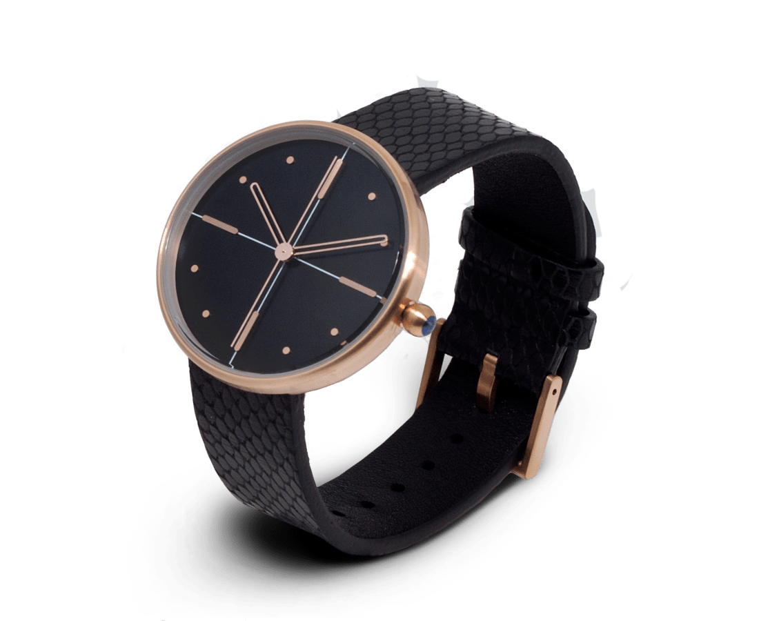 Aark Collective Dome Unisex Watch in Black & Rose Gold. Compendium Design Store, Fremantle. AfterPay, ZipPay accepted.