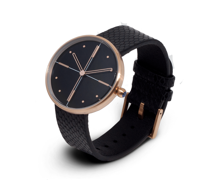Aark Collective Dome unisex watch in Black & Rose Gold
