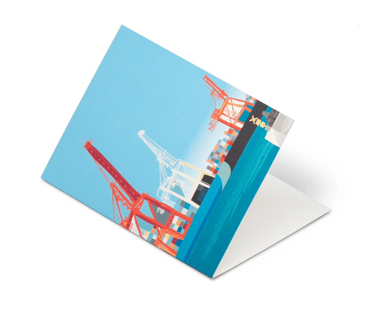 Arrival Cranes Fremantle Greeting Card by Future Shelter