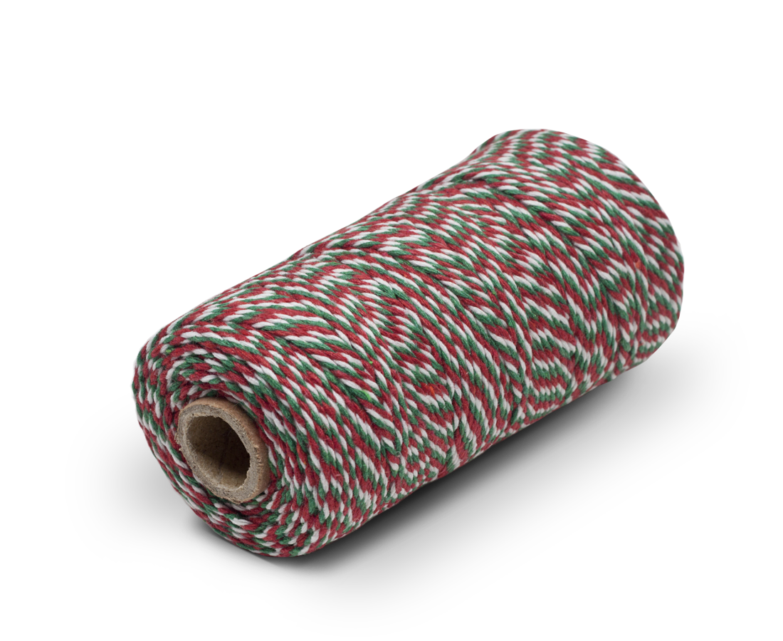 Bakers Twine 100% Cotton Christmas Red, Green & White. Compendium Design Store, Fremantle. AfterPay, ZipPay accepted.
