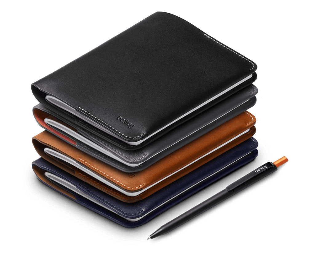 Bellroy Leather Notebook Cover & Notetaker Pen Set. Bellroy. Compendium Design Store, Fremantle. AfterPay, ZipPay accepted.