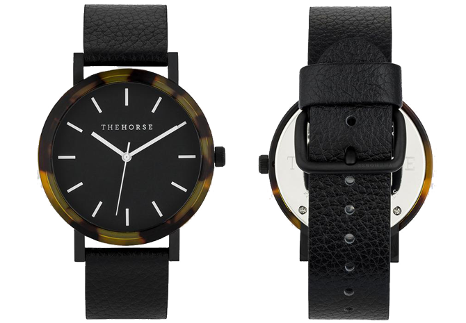E1 The Horse 'Resin' Watch in Tortoise Shell Case, Black Dial and Pebbled Black Band