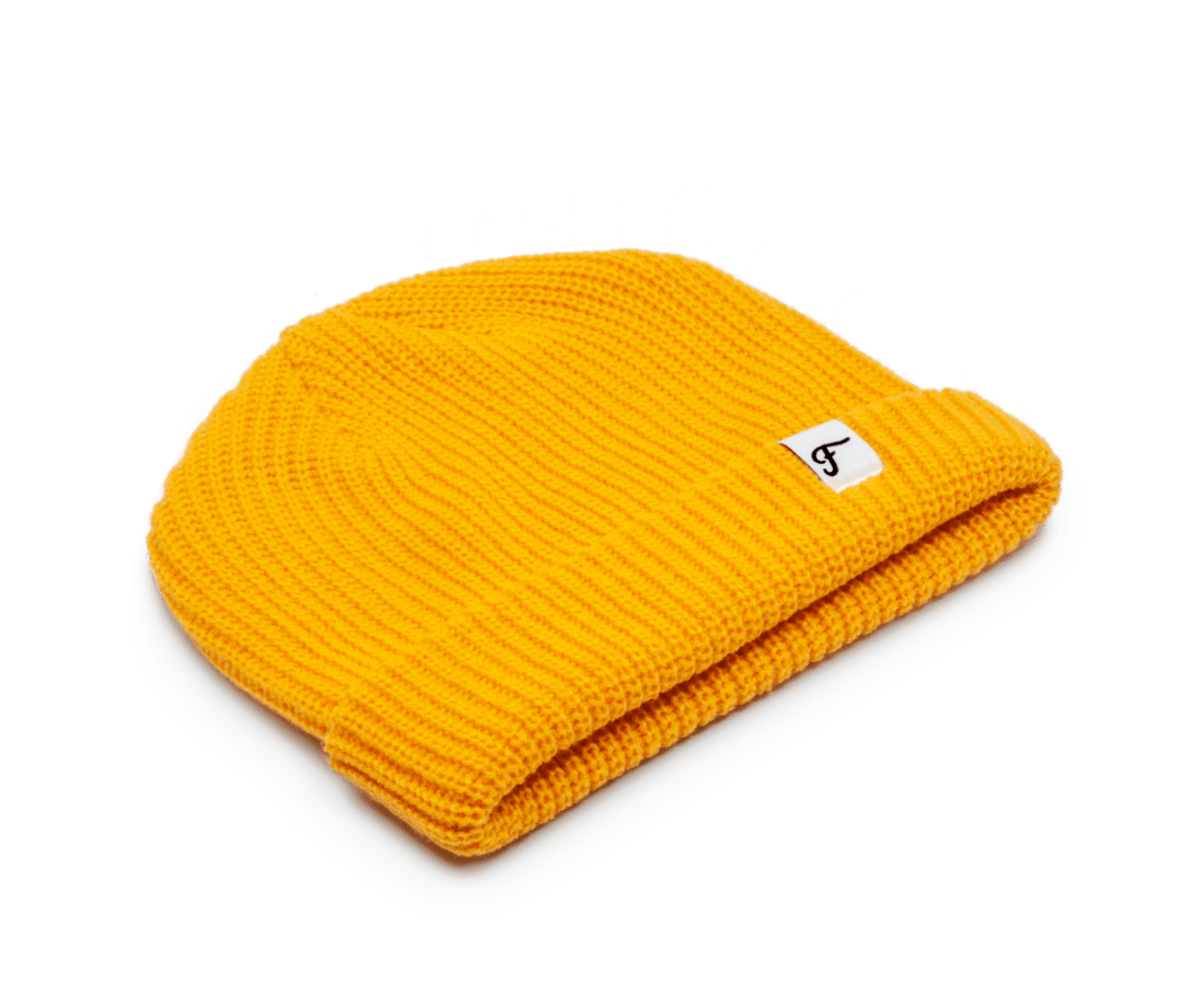 Freo Goods Co Mariner Beanie in Gold. Compendium Design Store, Fremantle. AfterPay, ZipPay accepted.