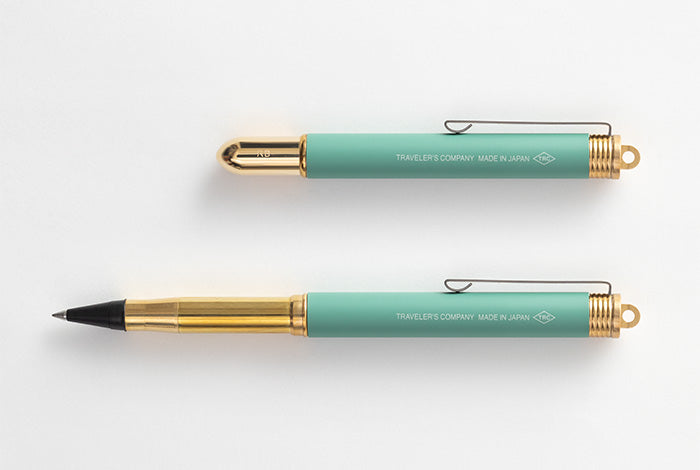 Travelers Company Japan Brass Rollerball Pen Factory Green Edition. Compendium Design Store, Fremantle. AfterPay, ZipPay accepted.