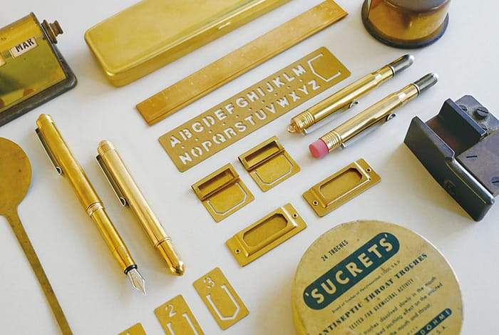 Travelers Company Japan Brass Pen Case. Compendium Design Store, Fremantle. AfterPay, ZipPay accepted.