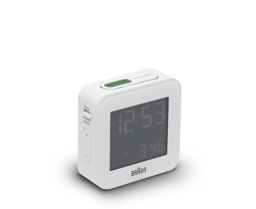 Braun Digital LCD Alarm Clock in White. Braun. Compendium Design Store. AfterPay, ZipPay accepted.